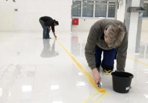 Postup při realizaci lité podlahy v parkovacím domě.